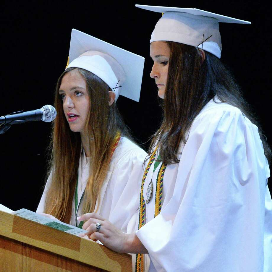 Class co -presidents Gianna Valenti, left, and Jillian Shipee deliver opening reflections during Commencement for Shenendehowa High School Class of 2017 at SPAC Friday June 23, 2017 in Saratoga Springs, NY.   (John Carl D'Annibale / Times Union) Photo: John Carl D'Annibale / 20040853A