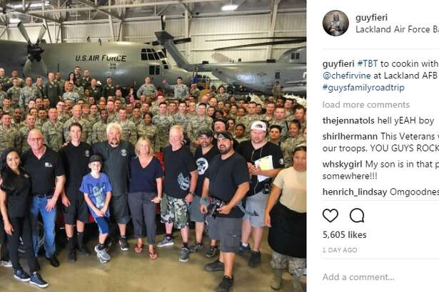 "guyfieri: ""#TBT to cookin with the krew and @chefirvine at Lackland AFB this week #guysfamilyroadtrip"""
