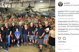 """guyfieri: """"#TBT to cookin with the krew and @chefirvine at Lackland AFB this week #guysfamilyroadtrip"""""""