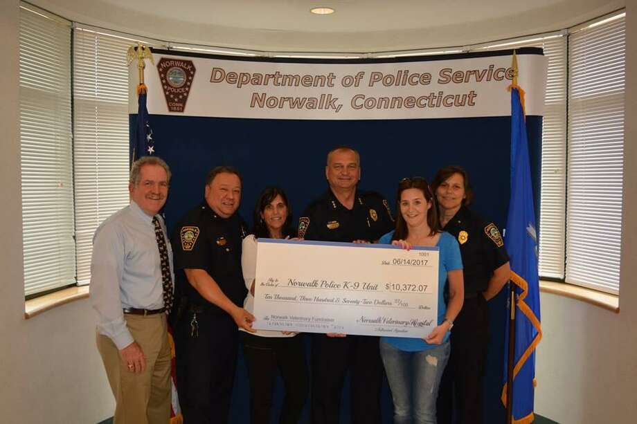 Picture from left to right are: Dr. Charlie Duffy, Deputy Chief Ashley Gonzalez, Dr. Janice Duffy, Chief Thomas Kulhawik, Sue Gabriele and Deputy Chief Susan Zecca. Photo: Contributed Photo