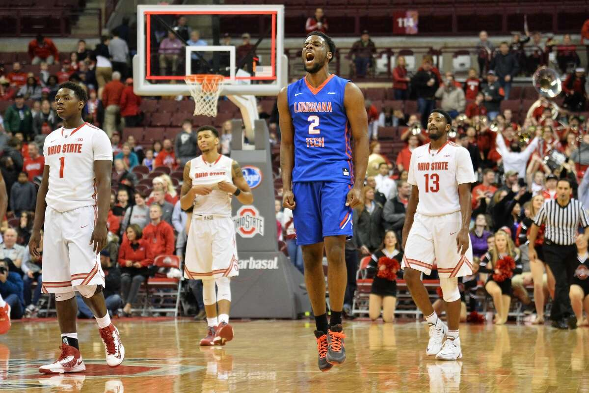 COLUMBUS, OH - NOVEMBER 24 Erik McCree #2 of the Louisiana Tech Bulldogs celebrates after the Bulldogs defeated the Ohio State Buckeyes 82-74 on November 24, 2015 at Value City Arena in Columbus, Ohio. (Photo by Jamie Sabau/Getty Images)
