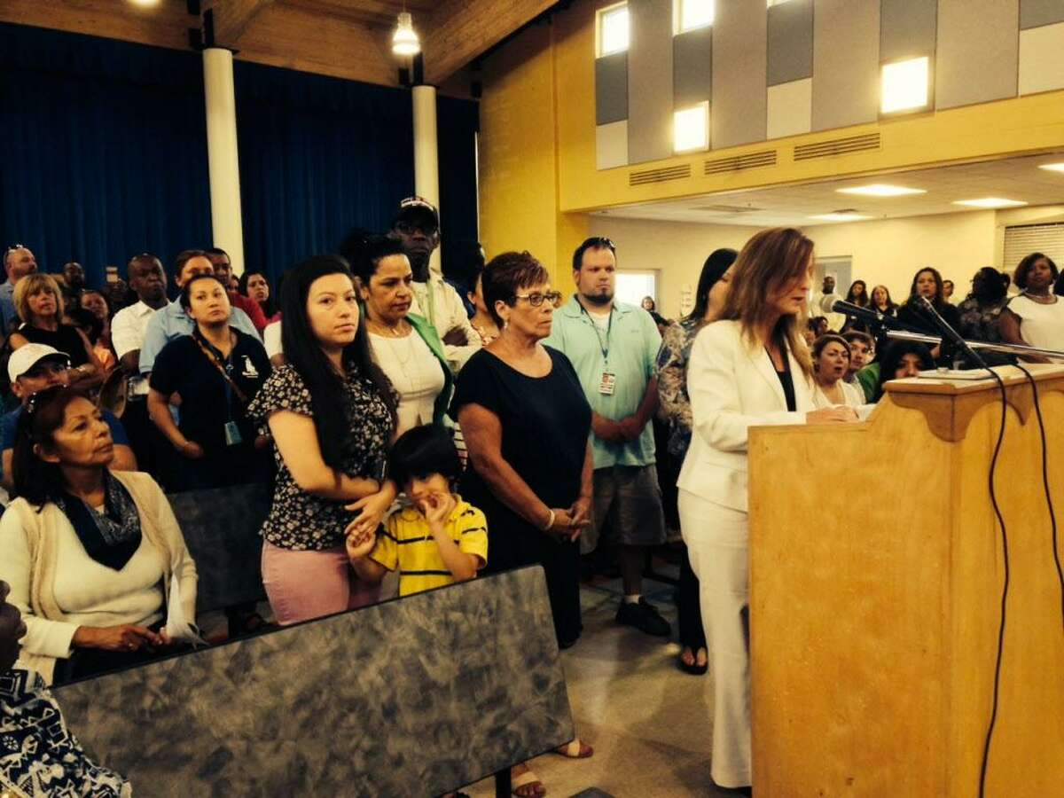 Supporters behind her, Lighthouse Director Tammy Pappa speaks to Bridgeport Board of Education. June 13, 2016