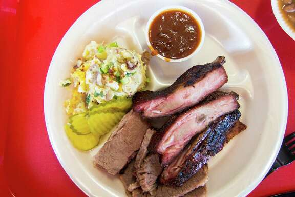 The two-meat plate at Hinze's Bar-B-Q in Wharton. Hinze's Bar-B-Q