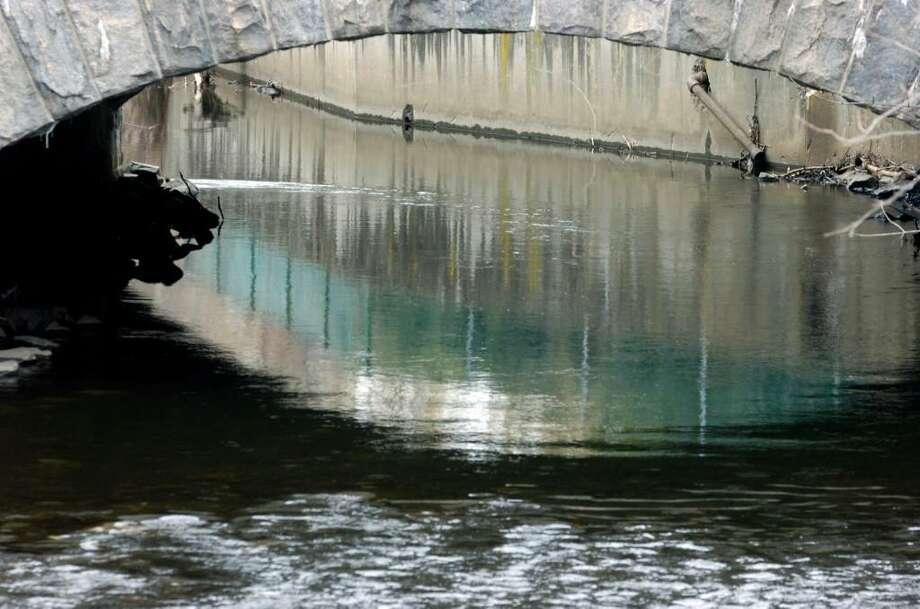 The Byram River flows beneath West Putnam Avenue. Photo: File Photo / Greenwich Time File Photo
