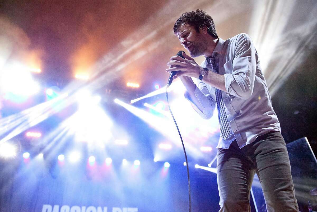 CHARLOTTE, NC - SEPTEMBER 12: Singer Michael Angelakos of Passion Pit performs during the 1065 The End Weenie Roast at PNC Music Pavilion on September 12, 2015 in Charlotte, North Carolina.