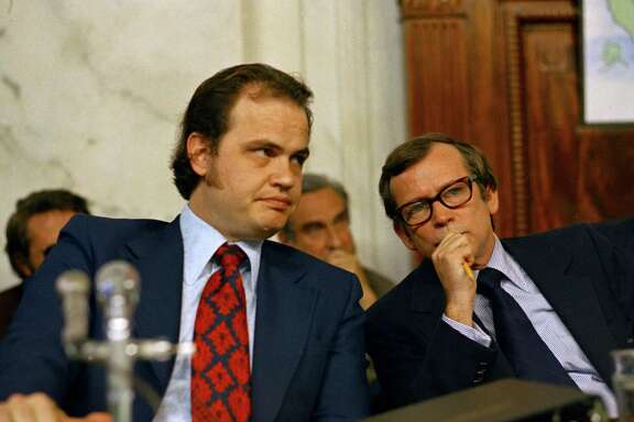 Fred Thompson, counsel for the Senate Watergate Committee (left), confers with Sen. Howard Baker during the Watergate hearings. A reader sees parallels between Watergate and the Trump-Russia investigations.