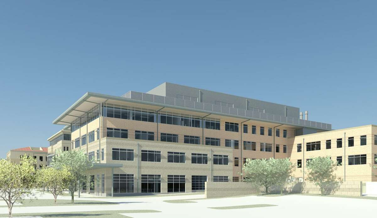 A rendering of University of Texas at San Antonios new science and engineering building, which will house a two-story distillation column to accompany the university's new chemical engineering program.