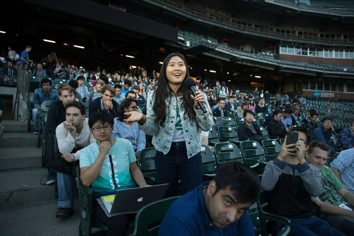 A student in the audience asks a question to Andrew Ng at Internapalooza held at AT&T Park on Wednesday, June 21, 2017 in San Francisco, CA.