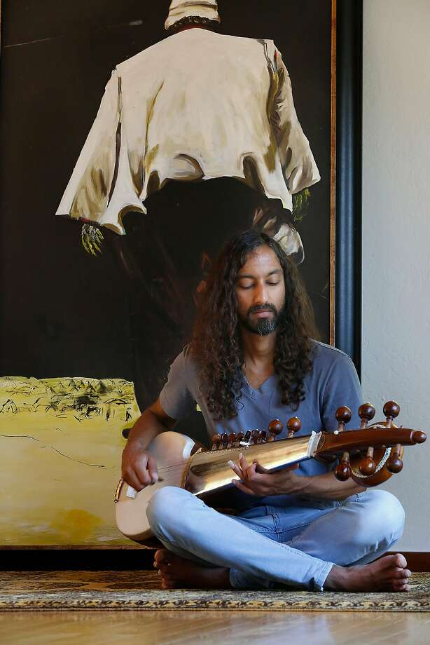 Hooked CTO Parag Chordia likes playing instruments while taking breaks at home working with engineers on Hooked, a company redefining fiction for the Snapchat generation, on Thursday, June 22, 2017, in Brisbane, Calif. Photo: Liz Hafalia, The Chronicle