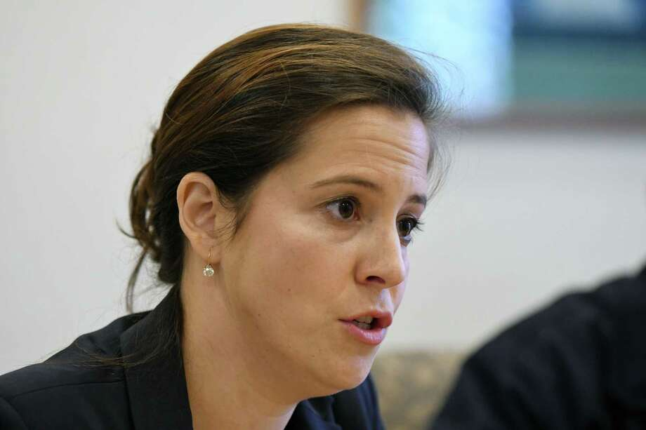 U.S. Rep. Elise Stefanik, 21st CD, speaks to the Times Union editorial board on Tuesday, Oct. 18, 2016, at the Times Union in Colonie, N.Y. (Will Waldron/Times Union) Photo: Will Waldron