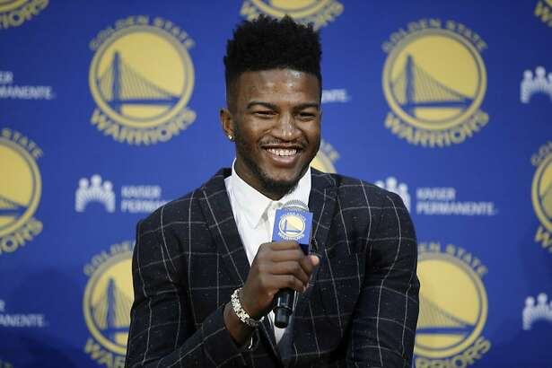 Jordan Bell during a news conference at the Golden State Warriors practice facility on Friday, June 23, 2017, in Oakland, Calif. The Warriors selected Bell, age 22, in the 38th pick of the second round in the 2017 NBA Draft.