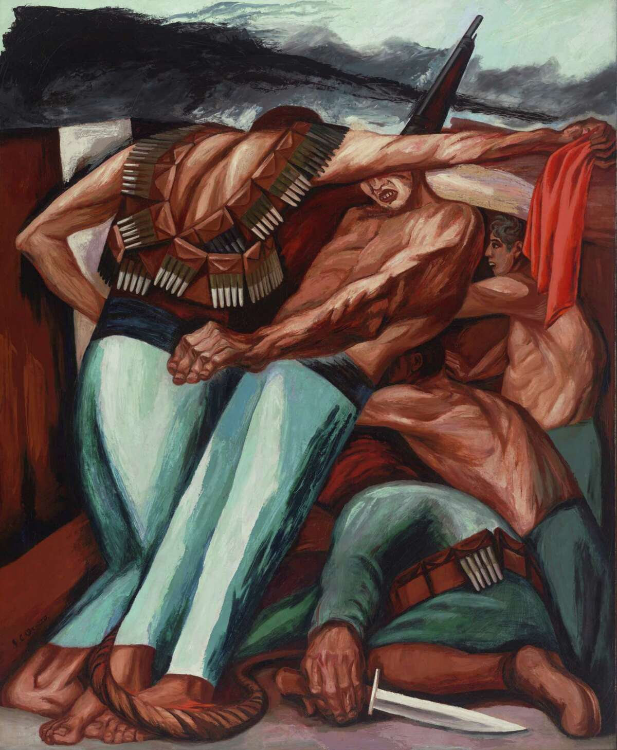 """José Clemente Orozco's 1931 painting """"Barricade"""" is among works on view through Oct. 1 in """"Paint the Revolution: Mexican Modern Art 1910-1950"""" at the Museum of Fine Arts, Houston."""