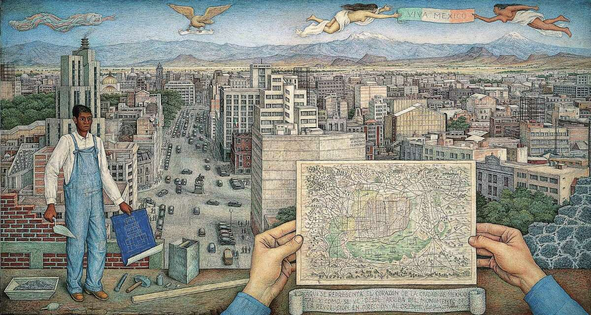 """Juan O'Gorman's """"Mexico City,"""" from 1949, is among works on view at the Museum of Fine Arts, Houston in the show """"Paint the Revolution."""""""