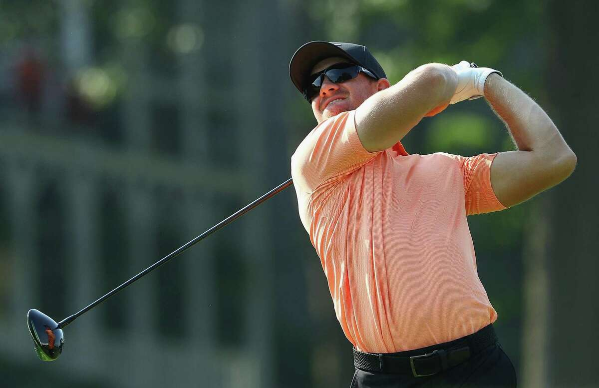 CROMWELL, CT - JUNE 23: Patrick Rodgers of the United States plays his shot from the 18th tee during the second round of the Travelers Championship at TPC River Highlands on June 23, 2017 in Cromwell, Connecticut. (Photo by Maddie Meyer/Getty Images)