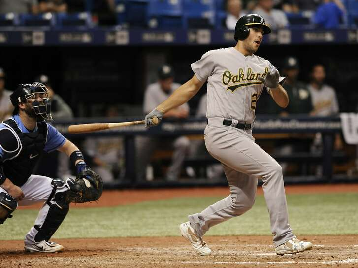 Oakland Athletics' Matt Olson bats during a baseball game against the Tampa Bay Rays Sunday, June 11, 2017, in St. Petersburg, Fla. (AP Photo/Steve Nesius)