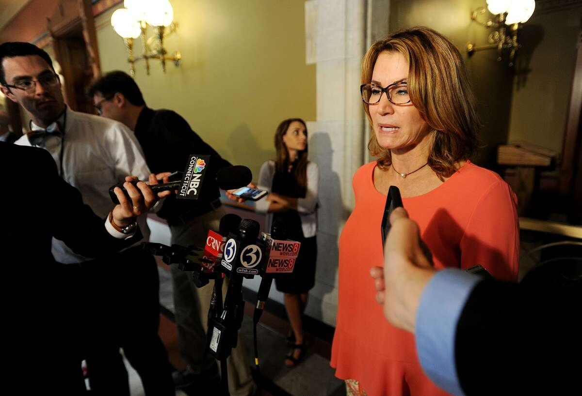 House Minority Leader Themis Klarides, R- Derby, meets the media to discuss budget discussions between House and Senate leaders and Governor Dannel Malloy at the Capitol in Hartford on June 1st.