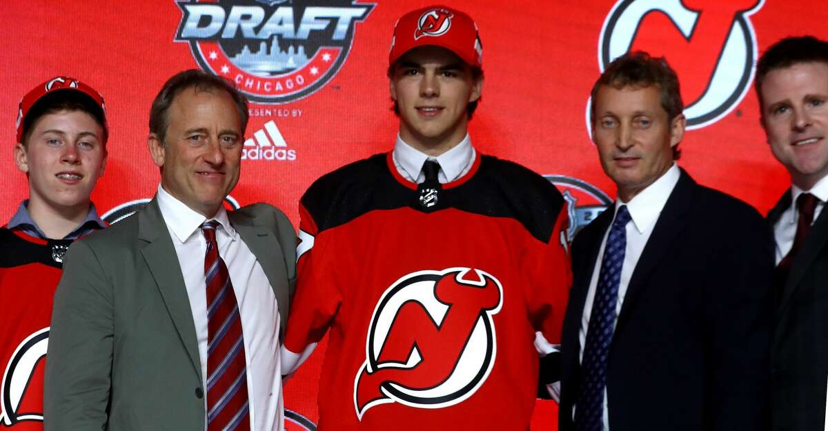 CHICAGO, IL - JUNE 23: Nico Hischier poses for photos after being selected first overall by the New Jersey Devils during the 2017 NHL Draft at the United Center on June 23, 2017 in Chicago, Illinois. (Photo by Bruce Bennett/Getty Images)