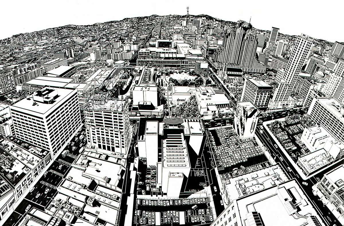 """Rigo 98 (now Rigo 23), """"Study for Looking at 1998 San Francisco from the Top of 1925"""" (1998 - detail); felt-tip pen, acrylic, tape, paper, and electrostatic prints, 46 � 66 in.; collection SFMOMA"""