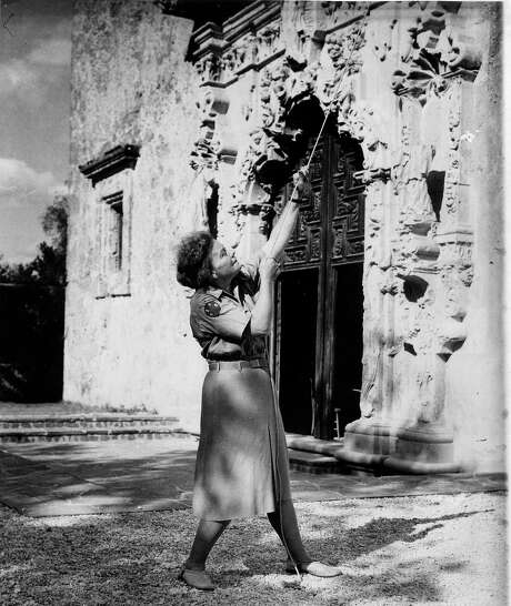 Ethel Wilson Harris rings the San José Mission bell in her Texas State Parks Board uniform, circa 1941. Photo: Courtesy San Antonio Conservation Society Foundation