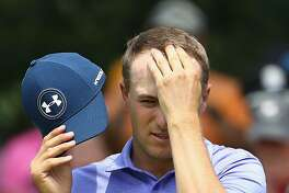 CROMWELL, CT - JUNE 23:  Jordan Spieth of the United States wipes his brow after putting on the ninth green during the second round of the Travelers Championship at TPC River Highlands on June 23, 2017 in Cromwell, Connecticut.  (Photo by Maddie Meyer/Getty Images)