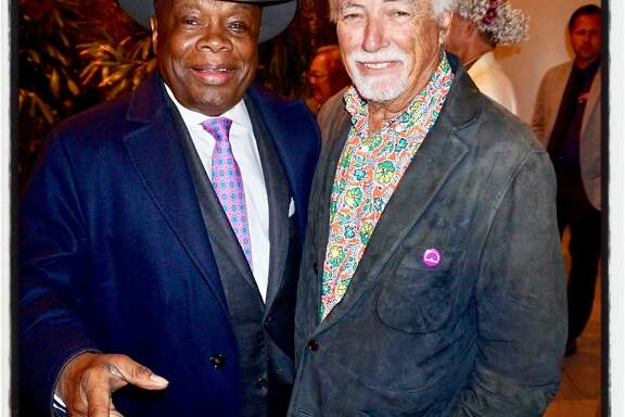 "Da Mayor Willie Brown (left) and SF Rec & Parks Commission President Mark Buell celebrate the ""Summer of Love"" 50th Anniversary at the Conservatory of Flowers. June 21, 2017."
