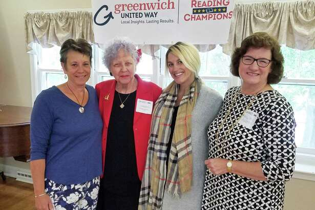 From left, volunteer tutors Marie Wardell, Diane Garrett, Kaitlin Debellis and Betsy Coons participated in this year's United Way Reading Champions initiative.