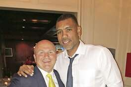 Tony Capasso, General Managing Partner of Gabriele's Italian Steakhouse in Greenwich with former NBA star Allan Houston.