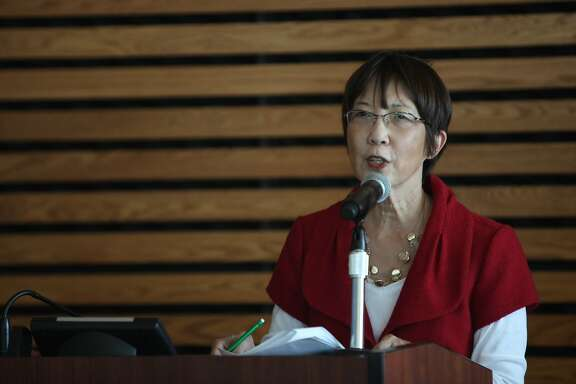 Alameda County Supervisor Wilma Chan speaks during a student sign-up event at Merritt College hosted by Alameda County Supervisor Wilma Chan to celebrate the launch of the Affordable Care Act in the Student Center at Merritt College on Tuesday, October 1, 2013 in San Francisco, Calif. On October 1, 2013 the Covered California health insurance exchange opened up for Californians to sign up for health insurance around the state.