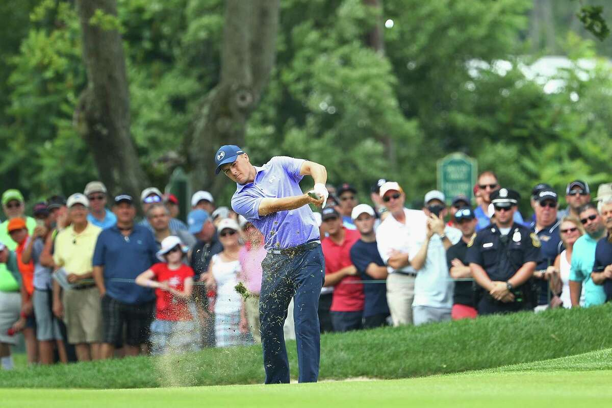 CROMWELL, CT - JUNE 23: Jordan Spieth of the United States plays a shot on the ninth hole during the second round of the Travelers Championship at TPC River Highlands on June 23, 2017 in Cromwell, Connecticut. (Photo by Maddie Meyer/Getty Images)