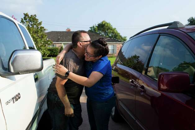 Rebecca Rodriguez, 15, receives her father Juan Rodriguez with the news that he was granted a 60-day reprieve by the U.S. government, Friday, June 23, 2017, in Houston. Photo: Marie D. De Jesus, Houston Chronicle / © 2017 Houston Chronicle