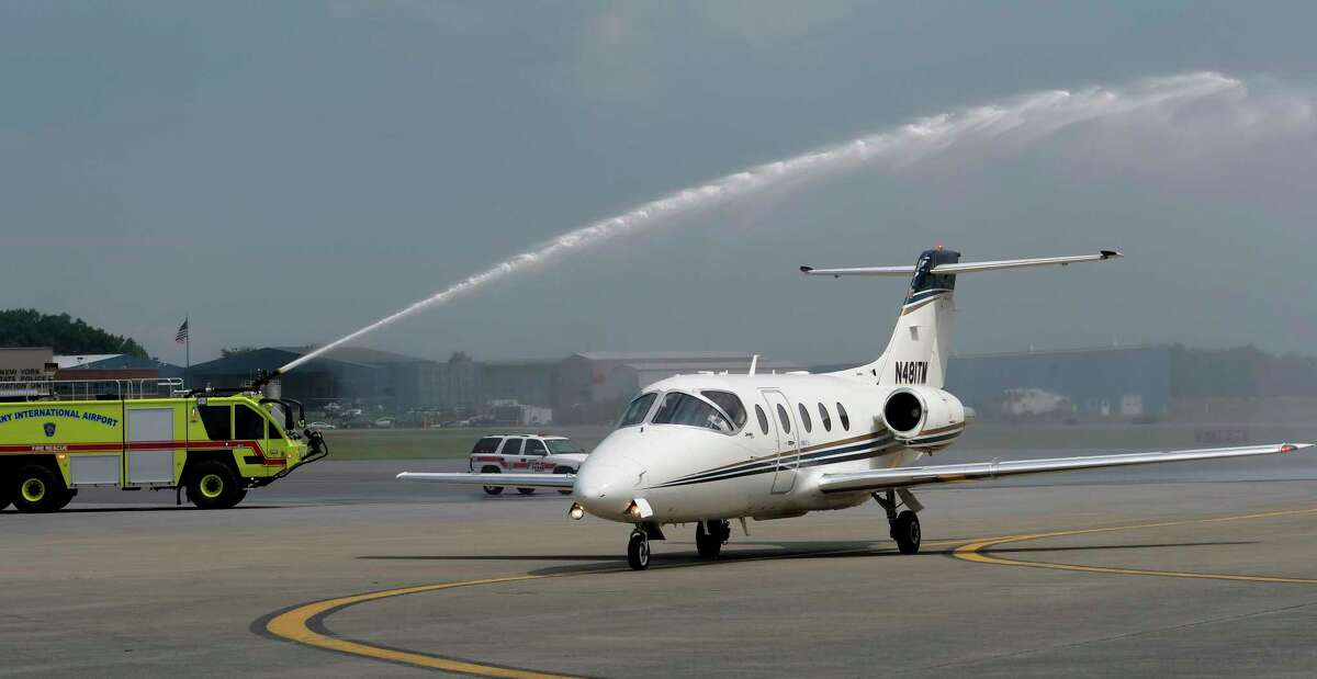 The first One Jet Air flight arrives at the Albany International Airport to a water salute from the Airport Fire department Friday June 23, 2017 at Colonie, N.Y. (Skip Dickstein/Times Union)
