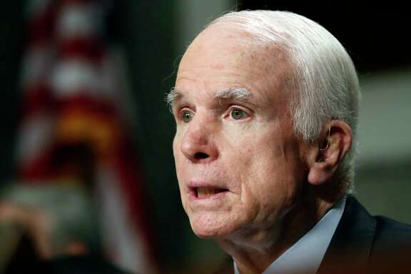 "FILE - In this June 13, 2017, file photo, Senate Armed Services Committee Chairman Sen. John McCain, R-Ariz. speaks on Capitol Hill in Washington. McCain and Sen. Jack Reed, D- R.I., are asking Defense Secretary Jim Mattis to investigate reports that U.S. military interrogators worked with forces from the United Arab Emirates accused of torturing detainees in Yemen. McCain and Reed, called the reports ""deeply disturbing."" (AP Photo/Jacquelyn Martin, file)"