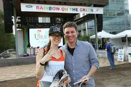 People pose for a photo at the annual Rainbow on the Green at Discovery Green musical eventFriday, June 23, 2017, in Houston.
