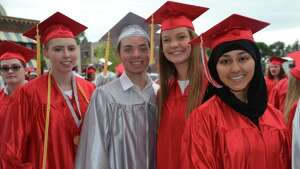 Niskayuna High School graduates are seen outside of Proctors theater before commencement.