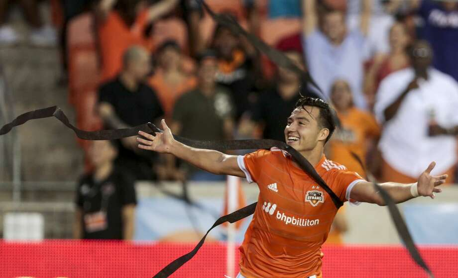 Houston Dynamo forward Erick Torres (9) celebrates his goal against FC Dallas during the first half of an MLS soccer game at BBVA Compass Stadium on Friday, June 23, 2017, in Houston. ( Brett Coomer / Houston Chronicle ) Photo: Brett Coomer/Houston Chronicle
