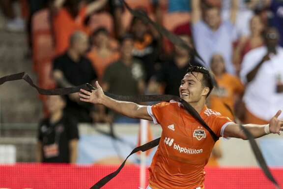 Houston Dynamo forward Erick Torres (9) celebrates his goal against FC Dallas during the first half of an MLS soccer game at BBVA Compass Stadium on Friday, June 23, 2017, in Houston. ( Brett Coomer / Houston Chronicle )