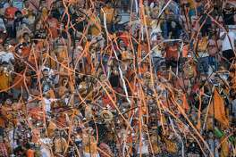 Houston Dynamo fans throws streamers and confetti before an MLS soccer game between the Dynamo and FC Dallas at BBVA Compass Stadium on Friday, June 23, 2017, in Houston. ( Brett Coomer / Houston Chronicle )