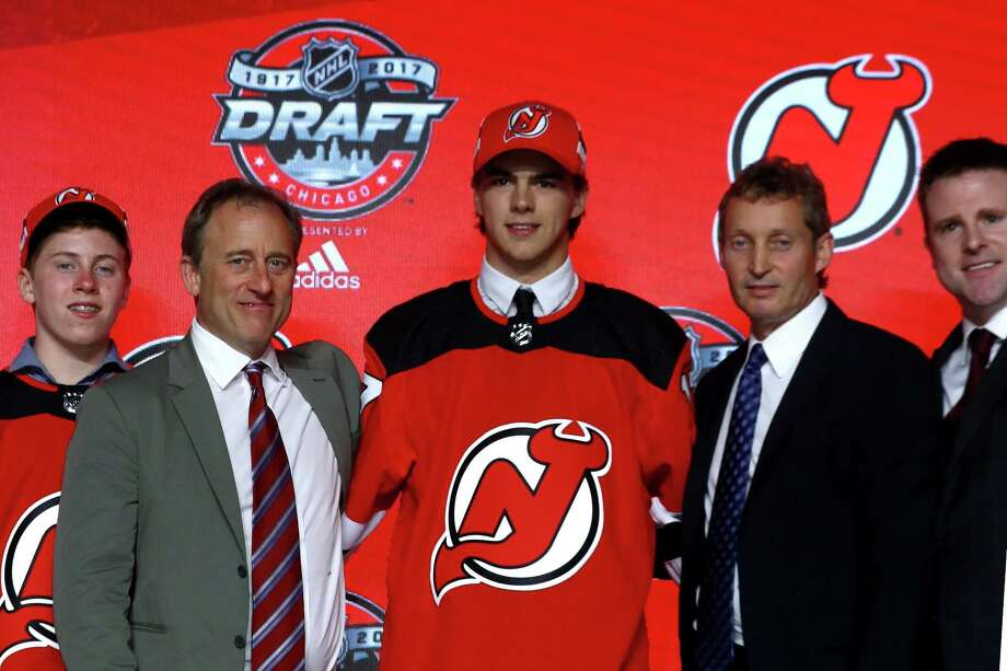 CHICAGO, IL - JUNE 23:  Nico Hischier poses for photos after being selected first overall by the New Jersey Devils during the 2017 NHL Draft at the United Center on June 23, 2017 in Chicago, Illinois.  (Photo by Bruce Bennett/Getty Images) ORG XMIT: 700066047 Photo: Bruce Bennett / 2017 Getty Images