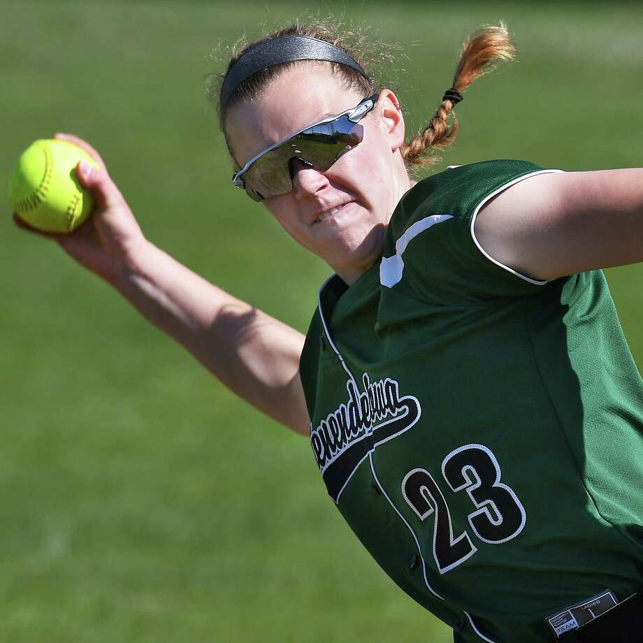 Shenendehowa pitcher #23 Nicole McCarvill warms up before their game against Troy High Thursday May 11, 2017 in Clifton Park, NY.  (John Carl D'Annibale / Times Union) Photo: John Carl D'Annibale / 20040451A