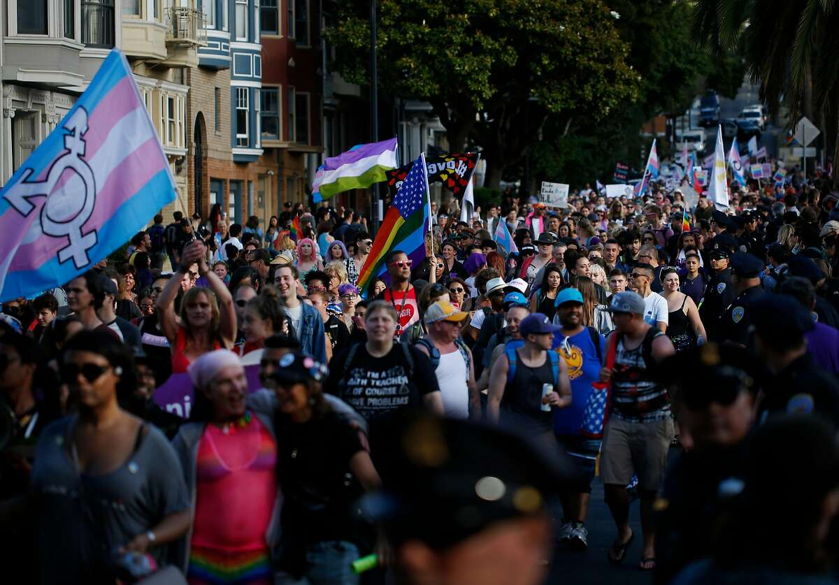 Hundreds upon hundreds of people take part in the Trans March along Dolores St. June 23, 2017 in San Francisco, Calif. The annual march kicks off a weekend of Pride events held around the city.