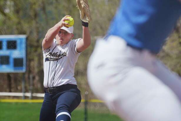 Isabelle DeChiaro of Cohoes delivers a pitch during the Ichabod Crane and Cohoes girls softball game on Monday, April 17, 2017, in Cohoes, N.Y.  (Paul Buckowski / Times Union)