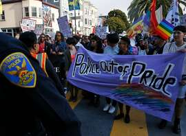 A separate group of protesters join the Trans March in Mission Dolores park June 23, 2017 in San Francisco, Calif. The annual march kicks off a weekend of Pride events held around the city.