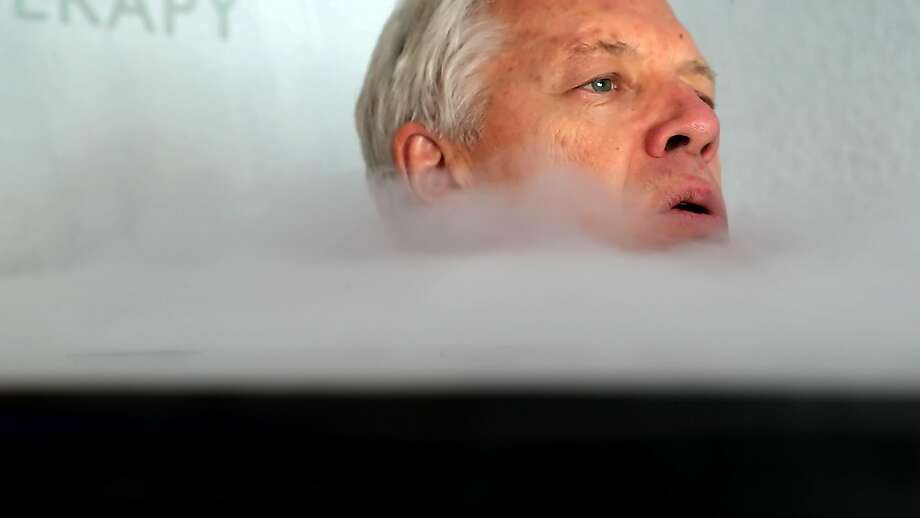 San Francisco Chronicle columnist Scott Ostler tries the latest in sports health therapy at a Bay Area cryotherapy treatment center. Photo: Carlos Avila Gonzalez, The Chronicle