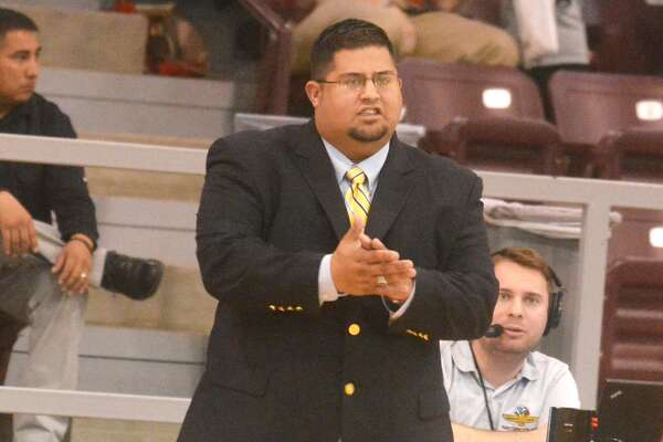 Coach Adam Zepeda encourages his team from the sideline during a basketball game. Zepeda will take over as the Floydada boys' basketball coach this year. He spent the last two years at Lockney, where he led the Longhorns to two playoff appearances, one district championship and wins in bi-district and area round games.