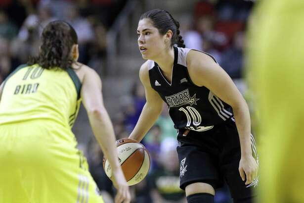 Stars' Kelsey Plum looks to start the offense against the Storm on June 18, 2017, in Seattle.
