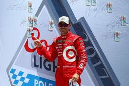 SONOMA, CA - JUNE 24:  Kyle Larson, driver of the #42 Target Chevrolet, poses with the Coors Light Pole Award after qualifying for the Monster Energy NASCAR Cup Series Toyota/Save Mart 350 at Sonoma Raceway on June 24, 2017 in Sonoma, California.  (Photo by Sarah Crabill/Getty Images)