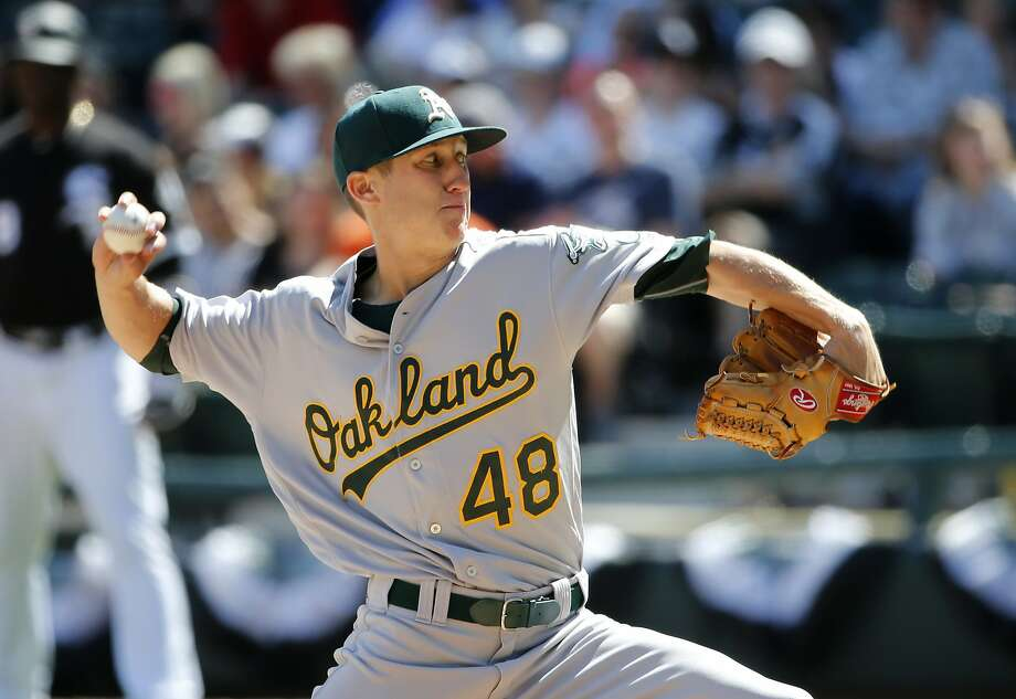 Oakland Athletics starting pitcher Daniel Gossett delivers during the fifth inning of a baseball game against the Chicago White Sox, Saturday, June 24, 2017, in Chicago. (AP Photo/Charles Rex Arbogast) Photo: Charles Rex Arbogast, Associated Press