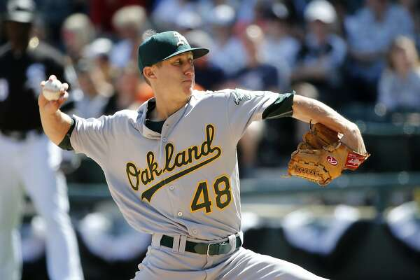 Oakland Athletics starting pitcher Daniel Gossett delivers during the fifth inning of a baseball game against the Chicago White Sox, Saturday, June 24, 2017, in Chicago. (AP Photo/Charles Rex Arbogast)