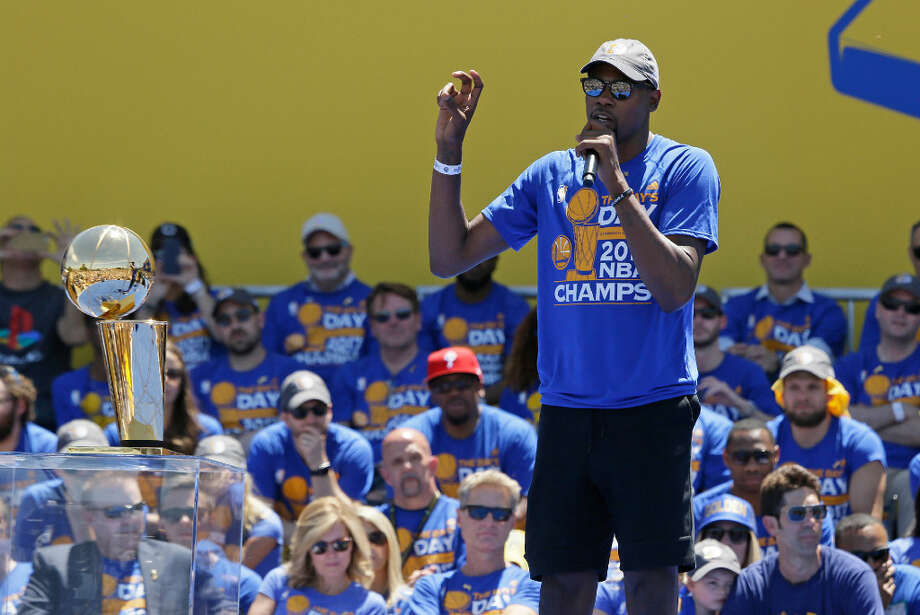 707a5d23e21c Kevin Durant speaks during the Golden State Warriors NBA championship rally  Thursday