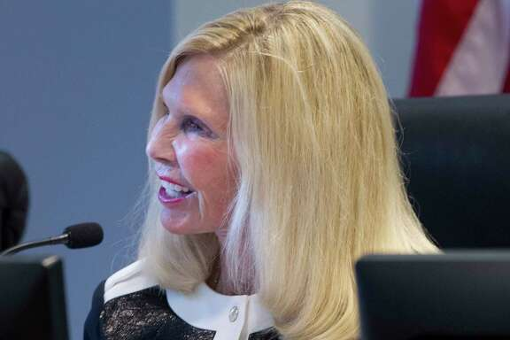 Ann Snyder, treasurer of The Woodlands Township Board of Directors, during a recent township meeting.